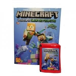 Combo 50 sobres de figuritas + álbum Minecraft Treasure